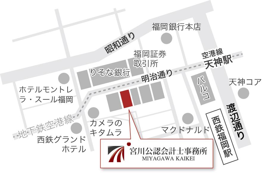 福岡天神の概略地図